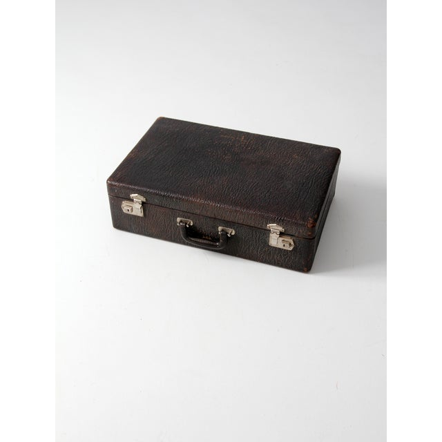 Vintage Black Leather Suitcase - Image 2 of 7