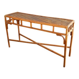 Long Rectangular Hollywood Regency Bamboo, Wicker, Rattan and Bentwood Sofa Console Table For Sale