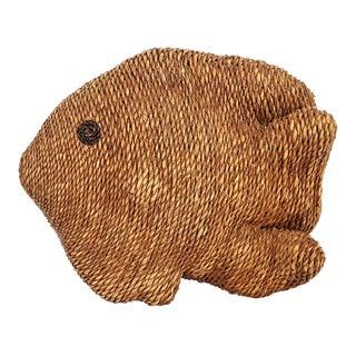 Mario Lopez Torres Style Vintage Raffia Organic Modern Fish Sculpture
