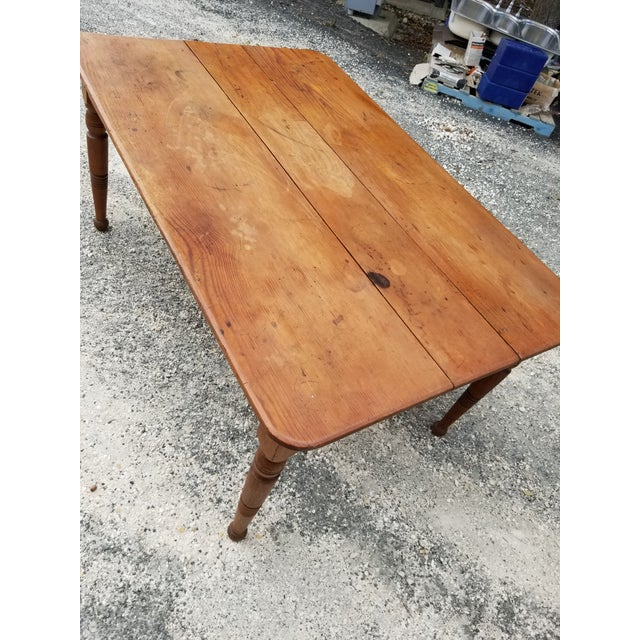 Mid 19th Century Antique Pine Farm Table For Sale - Image 5 of 12
