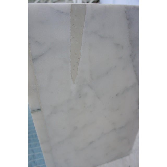 Mid-Century Modern Italian Carrara Marble Square End Table For Sale - Image 10 of 11