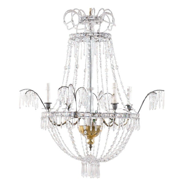 Italian Crystal Four-Light Chandelier With Crystal Center Column For Sale - Image 11 of 11