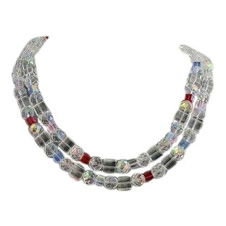 Swarovski Crystal Necklace Double Strand For Sale