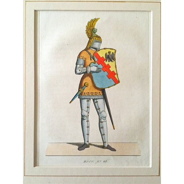 Antique 1842 Knight in Armor Color Etching - Image 2 of 3