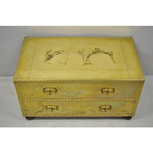 Vintage Sarreid Two Drawer Brass Studded Campaign Style Low Chest of Drawers For Sale - Image 12 of 13