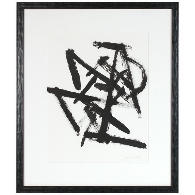 "2010s ""Parlance 2"" Monochromatic Abstract Expressionist Black Ink Drawing C. 2018 For Sale - Image 5 of 5"