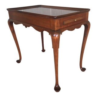 Vintage Queen Anne Solid Mahogany Tea Table For Sale