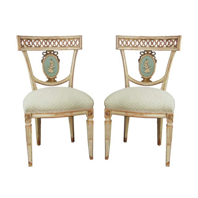Neoclassical Hand Painted Italian Side Chairs - 2 - Image 1 of 6