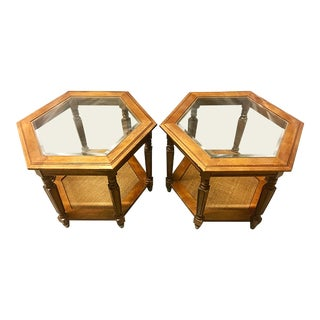 1970s Vintage Hexagonal Side Tables - A Pair For Sale