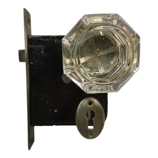 Late 19th Century Victorian Yale & Towne Mortise Lock Box With Eight-Point Crystal Doorknobs For Sale