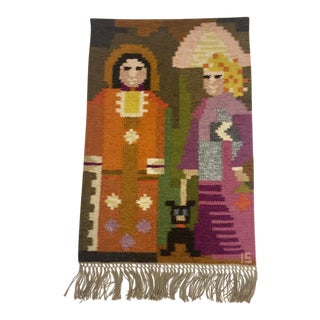 1950s Vintage Mid Century Hand Woven Tapestry For Sale