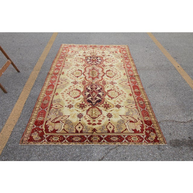Antique Turkish Oushak Hand Knotted Rug - 5'3 X 8'4 - Image 2 of 6