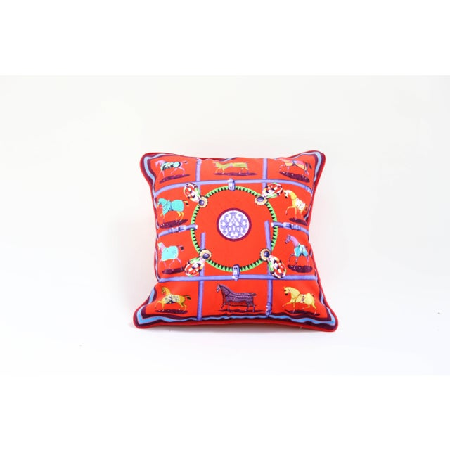 Velour royal horses red pillow cover. Does not include insert.