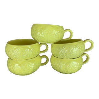 Vintage Secla Yellow Cabbage Bowls - Set of 5 For Sale