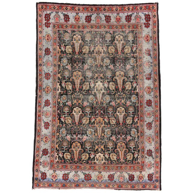Distressed Antique Persian Khorassan Rug with Mid-Century Modern Style For Sale