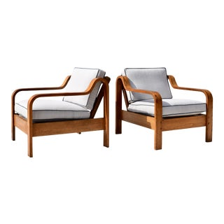 Taylor Ramsey Bent Wood Lounge Chairs in the Manner of Thonet, Pair For Sale