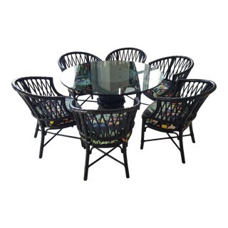 Country McGuire Rattan Sheath of Wheat Dining Set - 7 Pieces For Sale