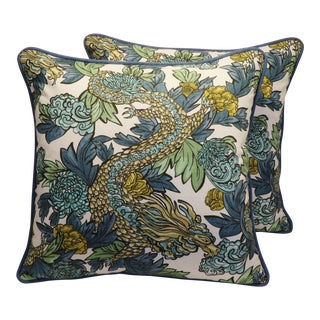 "22"" Custom Tailored Chinoiserie Asian Dragon Feather/Down Pillows - Pair"