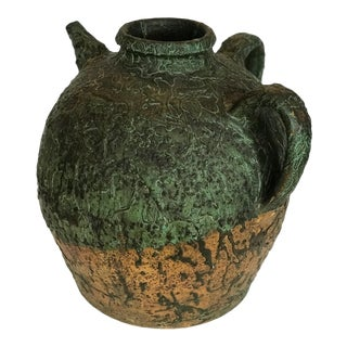 Antique Terracotta Ceramic Glaze Storage Jug For Sale