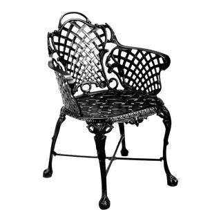 Basketweave Outdoor Chair in Black For Sale