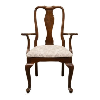 Late 20th Century Ethan Allen Georgian Court Solid Cherry Queen Anne Style Dining Arm Chair For Sale