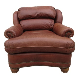 Traditional French Style Leather Lounge Chair For Sale