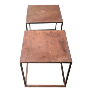 Industrial Frame Square Side Tables/Nightstands - Pair For Sale