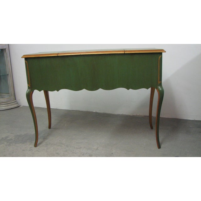 Vintage French-Style Green & Gold Painted Writing Desk For Sale - Image 4 of 12