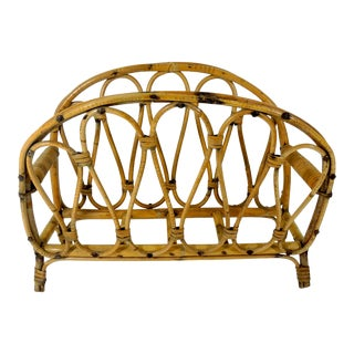Vintage Bent Bamboo Magazine Rack For Sale