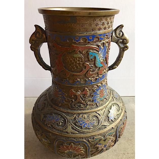 Vintage Japanese Brass Champleve Vase With Handles - Image 2 of 6