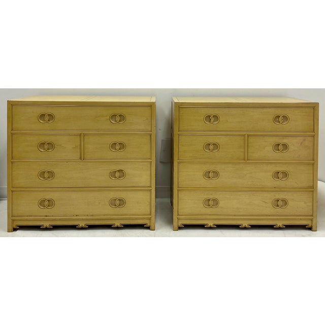 Wood Pair of Asian Modern Michael Taylor for Baker Furniture Chest of Drawers For Sale - Image 7 of 7