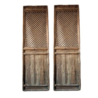 1866 Antique Chinese Lattice Wood Screen Dividers - a Pair For Sale