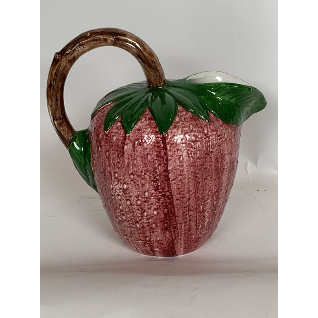 1970s Vintage Majolica Strawberry Signed Pitcher For Sale - Image 5 of 8