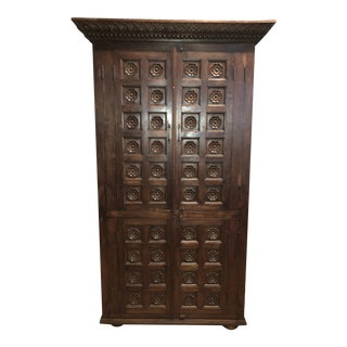 Rustic Hand Crafted African Blackwood Armoire For Sale