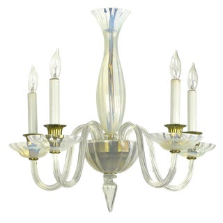 Murano Opaline Glass Five-Arm Empire Style Chandelier For Sale