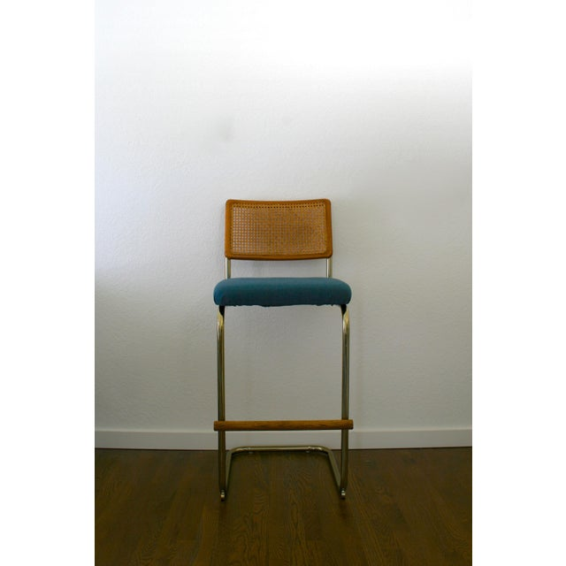 Boho Chic Cane, Brass and Teal Upholstered Cantilever Barstools - A Pair For Sale - Image 3 of 9