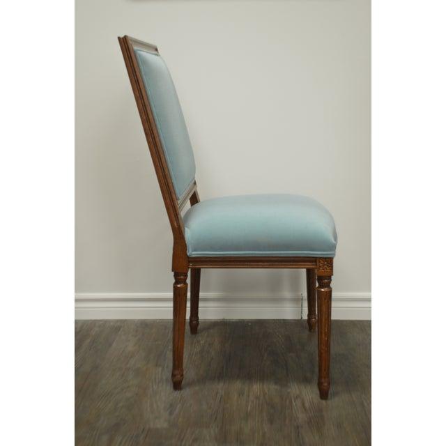 Custom Order Louis XVI Style Square Back Dining Chair Upholstered in Kravet's Crypton Washable Velvet For Sale - Image 9 of 11