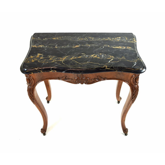 French Antique French Louis XV Heavily Carved Marble Top Hall Console Table Cabriolet Legs For Sale - Image 3 of 12