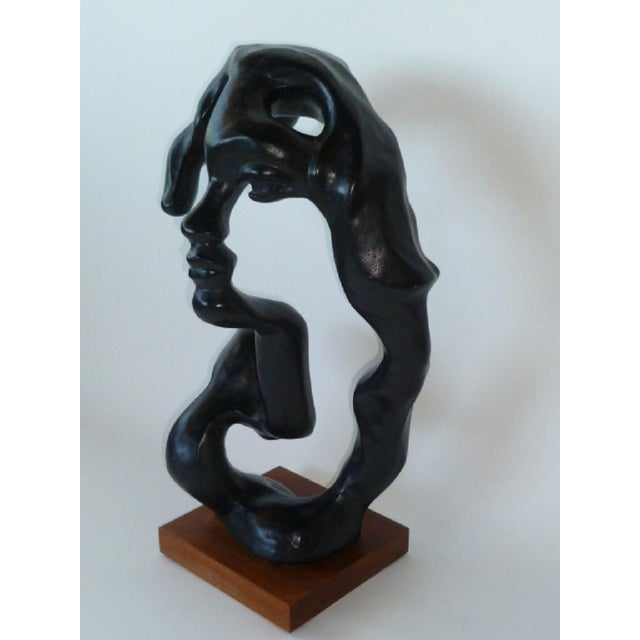 """Surreal sculpture by Czech American artist Klara Sever called """"Portrait of a Woman."""" Great scale and rendered in black..."""