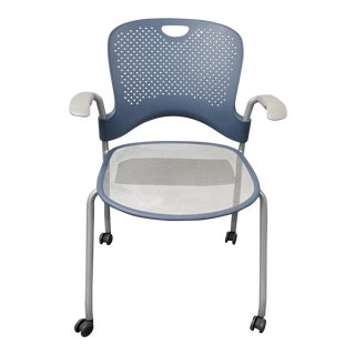 Modern Herman Miller Caper Stack Blue Chair For Sale