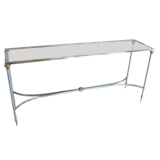 Elegant Two-Tone Steel & Brass Console by Jansen For Sale
