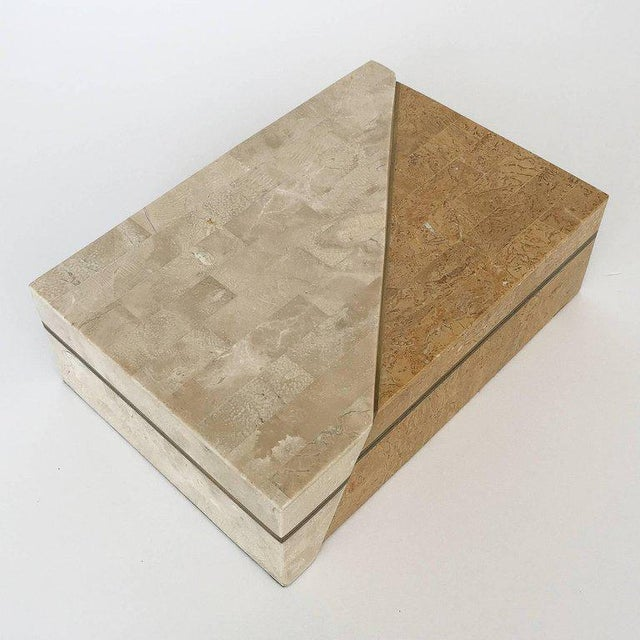 Maitland-Smith Asymmetrical Tessellated Stone Brass Box For Sale In Chicago - Image 6 of 10