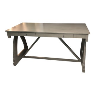Modern Dove Gray Trestle Style Desk For Sale