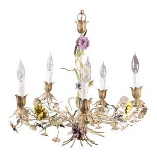 Vintage Italian Tole Wildflowers Chandelier For Sale