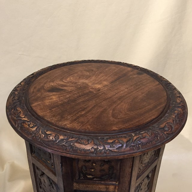 Teak Carved Round Table For Sale - Image 4 of 8