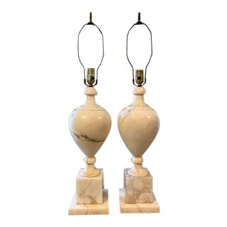 Early 19th Century Alabaster Lamps - a Pair For Sale