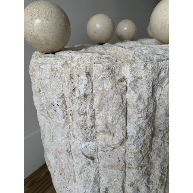 Beige Late 20th Century Mactan Stone Side Tables - a Pair For Sale - Image 8 of 12