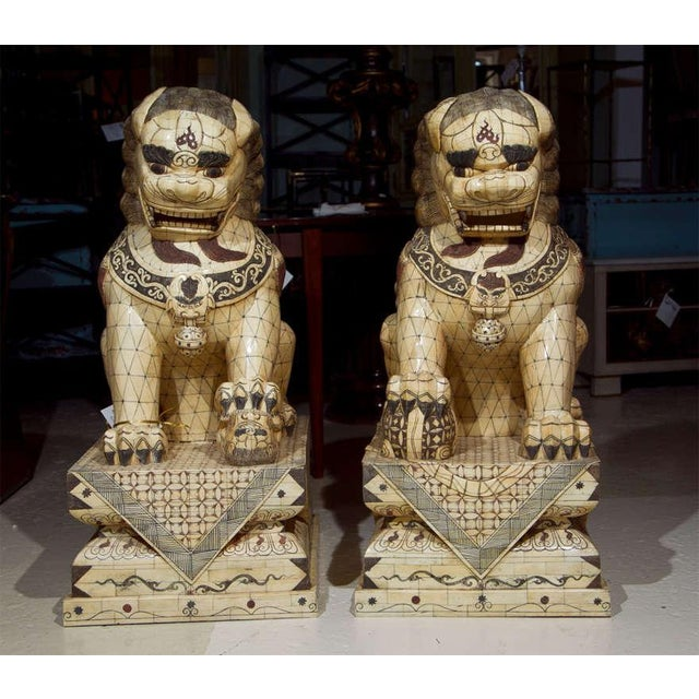Pair of finely carved palace sized bone and parcel-ebonized Chinese Foo dogs sculptures, both in sitting position raised...