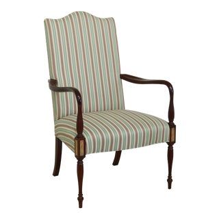 Hickory Chair Co Sheraton Mahogany Upholstered Armchair For Sale