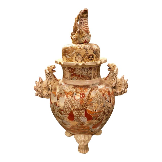 Superb Antique Satsuma Pottery Covered Urn For Sale
